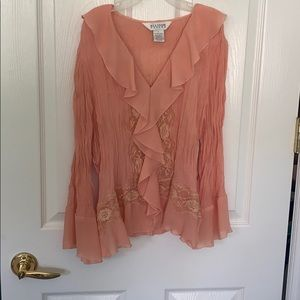 Coral color lace blouse